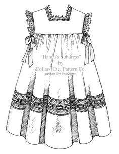 "WEDDING FINERY Here's a  great idea for a flower girl dress:  make ""Hanna's Sundress"" pattern by Collars, Etc. Pattern Co. in batiste, adding a wide lace panel to the skirt, gathered lace edging to yoke and shoulder edges, and tying satin ribbons under the arms. Don't tell anyone we said it's okay for the flower girl to steal the show. ~Trudy Horne"