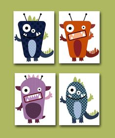 "Childrens Art Kids Wall Art Baby Boy Room Decor Baby Boy Nursery kids art Baby Nursery print set of 4 8"" x 10"" Prints Monsters blue violet. $52.00, via Etsy."