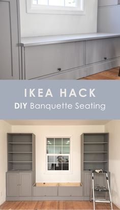 ikea hack, diy banquette seating, ikea havsta bench seating breakfast nook for dining table This is an IKEA HAVSTA hack for banquette seating. In this post, I'm sharing why I chose IKEA HAVSTA cabinet for this built-in, the cost and DIY process. Home Diy, Ikea Built In, Ikea Diy, Home Remodeling, New Homes, Dining Room Remodel, House, Ikea Dining, Home Renovation