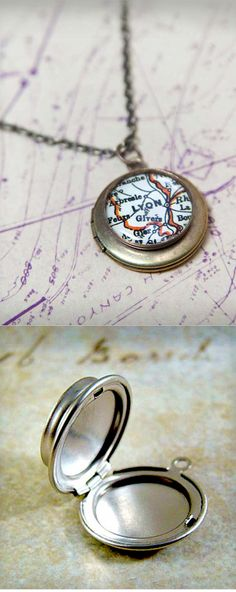 Vintage Map Locket Necklace