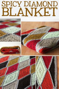 Free crochet pattern: Spicy diamond blanket