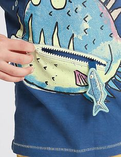 Pure Cotton Fish Print T-Shirt with Zip Mouth (1-7 Years)   M&S