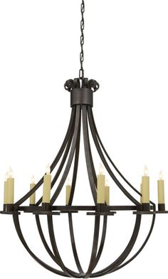 Visual Comfort SK5012AI Suzanne Kasler Seymor Large Chandelier in Aged Iron
