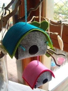 DIY easter  felt ornaments birdhouses