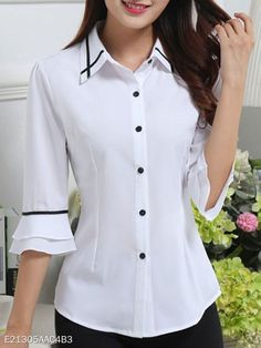 Spring Summer Polyester Women Turn Down Collar Single Breasted Contrast Piping Plain Half Sleeve Blouses Fashion girls, party dresses long dress for short Women, casual summer outfit ideas, party dresses Fashion Trends, Latest Fashion # Blouse Styles, Blouse Designs, Bluse Outfit, Cheap Womens Tops, Sewing Clothes, Dress Sewing, Clothing Patterns, Sewing Patterns, Women's Clothing