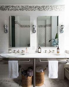 Tile Border Home Tip: Spring Cleaning w/ Homepolish Decoration Inspiration, Bathroom Inspiration, Bathroom Inspo, Modern Bathroom, Bathroom Ideas, His And Hers Sinks, Soho Loft, Home Hacks, Bathroom Interior Design