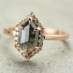 1.18 Carat Grey Hexagon Halo Diamond Engagement Ring, 14k Rose Gold