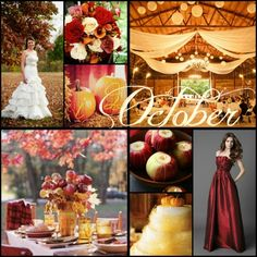 Wedding Color Ideas by Month... love the color of the bridesmaids dress but not the shiny fabric.