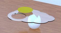 Egg - Mesa de centro com Gema removível para servir como bandeja Design By Cassiana Franco