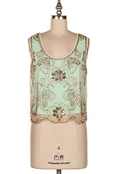 SEQUINS & BEAD EMBELLISHED SLEEVELESS TOP.  #22E-IN-M9009