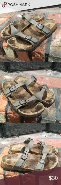 Birkis by Birkenstock sandals size 36 Birkis by Birkenstock sandals size 36.  Cute well loved tan strappy sandals.  Some visible west as shown in photos.  Tan adjustable straps. Birkenstock Shoes Sandals
