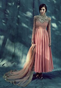 An ethereal pink and silver anarkali. By Atsu Sekhose
