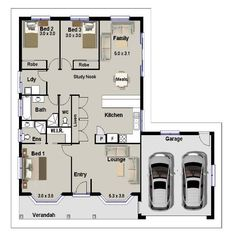 3 Bedroom Houses | House Plans 3 Bedrooms | Australian Dream 3 Bedroom Home  Design