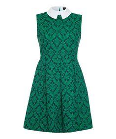 Green & White Damask Sleeveless Dress