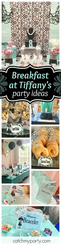Check out this gorgeous Breakfast at Tiffany's birthday party! The dessert table is fabulous! See more party ideas and share yours at CatchMyParty.com