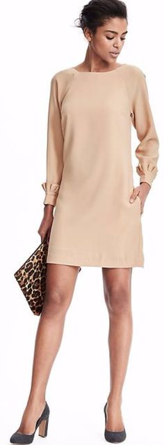 Discover the most versatile dress for this season - our cuff detail mini dress is perfect for an effortlessly chic office ready look or pair it with a clutch and heels for a holiday party chic look Fall Fashion 2016, Work Fashion, Autumn Fashion, Office Fashion, Modern Outfits, Cool Outfits, Ruffle Sleeve Dress, Work Attire, Dress Me Up