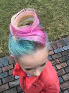 """Cotton Candy"" hair for Crazy Hair Day at school"
