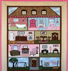 PT Emma's Pocket Dollhouse Quilt Pattern by Apron Lady Designs Applique Patterns, Applique Quilts, Quilt Patterns, Children's Quilts, Quilt Baby, Patch Quilt, Quilt Blocks, Quilting Projects, Quilting Designs