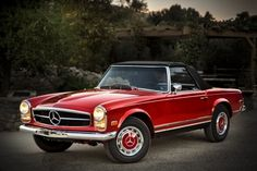 This 1968 Mercedes-Benz 280 SL is an excellent example of a W113 SL Series Roadster. It is presented in its original configuration of red paintwork (DB568) and black MB-Tex interior (DB131). The...