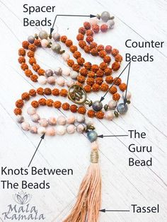 Mala Bead Anatomy #101 - What does each part of a mala mean? Learn the meaning of the thread, beads, tassel, knots and counter or spacer beads in a mala.