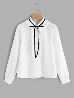 To find out about the Frill Trim Tie Neck Shirt at SHEIN, part of our latest Blouses ready to shop online today! Casual Hijab Outfit, Casual Outfits, Cute Outfits, Hijab Fashion, Korean Fashion, Fashion Outfits, Hijab Stile, Pinterest Fashion, Kawaii Clothes