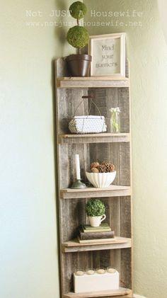 DIY corner shelf -  plain fencing, triangle cut base shelves resting on straight wood strips