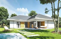 Projekt domu Parterowy- 118.23m2 - koszt budowy 184 tys. zł Home Living Room, Planer, House Plans, Sweet Home, House Design, How To Plan, Mansions, House Styles, Outdoor Decor