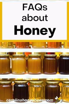 Frequently asked questions about honey.  Honey is a well known natural sweetener but it can be so much more.  Test your Honey FAQs and see which ones are new to you!  #carolinahoneybees #FAQhoney #questionsabouthoney Best Honey, Pure Honey, Raw Honey, Why Does Honey Crystallize, Decrystallize Honey, Honey Facts, Cooking With Honey