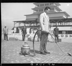 Five Filter Queen Men Clean the Track, 1950 :: Indianapolis Motor Speedway Collection Oil Service, Indianapolis Motor Speedway, Vacuums, Filters, Track, Vacuum Cleaners, Cleaning, Queen, Cool Stuff