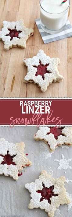 Slightly sweet shortbread-style cookies filled with a deliciously tart raspberry filling, these Raspberry Linzer Snowflake Cookies are the perfect balance for those who love the not-so-sweet desserts!: