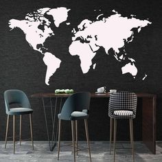 Minimalist World Map Wall Decal - Black / M 30cm X 55cm