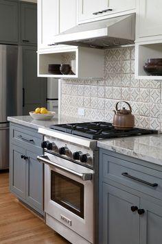 Gray and White Kitchen Cabinet Ideas. Kitchen with gray lower cabinets and white upper cabinets. #Kitchen #KitchenGrayLowerCabinets  Jessica Risko Smith Interior Design.