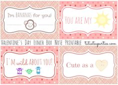 Valentine's Day Printable Cards. Tutus And Tea Parties Valentines Day Lunch Box Note Card Printable