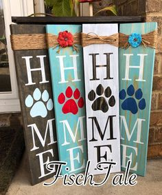 signs Paw Print Home Sign - Rustic Paw Sign - Paw Print sign - Home sign with Paw Print - Pet Decor - Paw Print wood sign - Dog Sign- Cat Sign Arte Pallet, Pallet Art, Wood Pallet Crafts, Diy Wooden Crafts, Pallet Flag, Pallet Ideas, Wooden Diy, Bar Outdoor, Outdoor Signs
