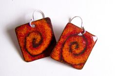 Copper Enamel Dangle Earrings Abstract Orange Red and Brown