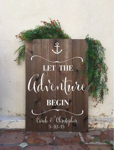 Let the adventure begin wood wedding sign  by FromKellyWithLove
