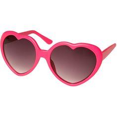 Matt Neon Heart Sunglasses ($23) ❤ liked on Polyvore