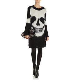 McQ Alexander McQueen Mohair Skull Tunic Sweater