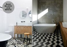 For a chic, modern look go for black and white patterned tiles and mix them with natural materials such as wood and concrete and incorporate plenty of white to keep it fresh. Patterned tile: Interior design trend.