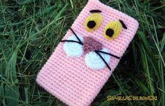Funda móvil Pantera rosa (Crochet)
