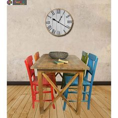 Detayları Göster Puzzle Design Tabla Ahşap Masa ve Sandalye Takımı - Renkli