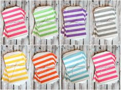 Super cute rugby stripe party favor bags! shoptomkat.com... This website has the CUTEST party supplies, decorations, and free printables!