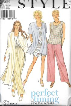 Style 2598 PerfectTiming 2 Hour Separates Pattern, Misses Top, Pants, Shorts And Jacket In Two Lengths, S-XXL, UNCUT by DawnsDesignBoutique on Etsy
