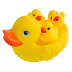Everyone loves taking bubble baths, but now youll love taking a bath even more with these yellow friends. This set comes with a larger yellow rubber duck and three others that float on the water. Foll