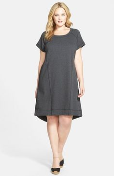 Sejour French Terry Shift Dress (Plus Size) available at #Nordstrom