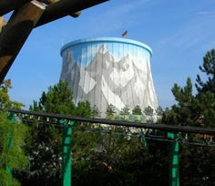 A Visual Guide to 11 of the World's Most Baffling Theme Parks Mountain Mural, Cooling Tower, Nuclear Energy, Electrical Energy, Mountain Climbers, Water Tower, Graffiti Art, Ecology, Travel Destinations