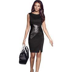 eb7f39c2e15 5XL осень плюс Размеры вечерние платье Для женщин Искусственная кожа  сращивания ПР черный карандаш платье без