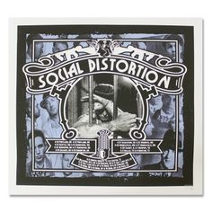 Social Distortion - Behind Bars Winter 2012 Screen Printed Tour Poster Tour Posters, Band Posters, Mike Ness, Social Distortion, Cool Bands, Album Covers, Rockabilly, Screen Printing, Nerd