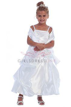 White Shiny Satin A-line Pick-up Style Long Flower Girl Dress with Sparkles D-720-WH CD-720-WH $67.95 on www.GirlsDressLine.Com