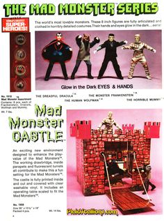 I adore the Mego Mad Monsters, it's definitely in my top five all time Monster toy lines (which I'll speak more about this month). Monster Toys, Monster Art, Vintage Horror, Vintage Ads, Aquarium Landscape, 1960s Toys, Sci Fi Novels, Scary Monsters, Classic Horror Movies